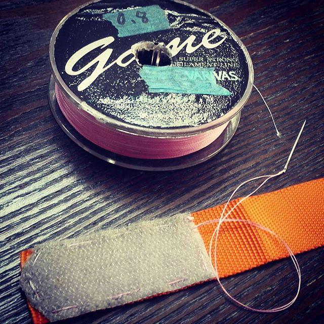 PEラインって、実は縫い物に最適なんですよね… #PEライン #使い古し #捨てずに取っておくと便利 #1号以下が使いやすい #まず切れることはあり得ない #ある意味超高級縫い糸かも…