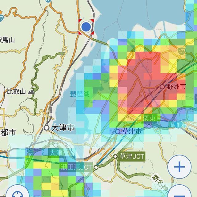琵琶湖に出ている皆さん!ヤバいの来そうですから気をつけて下さいΣ(゚Д゚)!!#雷雨 #雨雲レーダー #yahoo天気 #ゲリラ豪雨